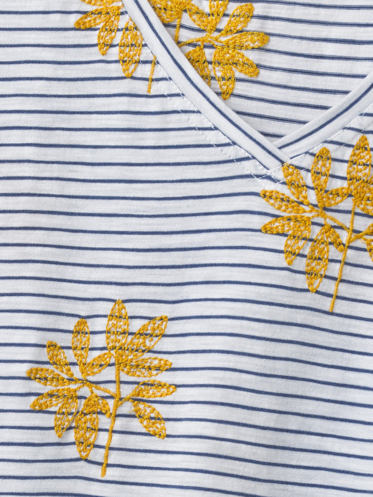 White Stuff T-Shirt Fun Stripe Brodé