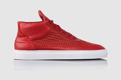 Top Mid Woven Leather Wired Red