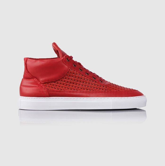 Filling Pieces Top Mid Woven Leather Wired Red