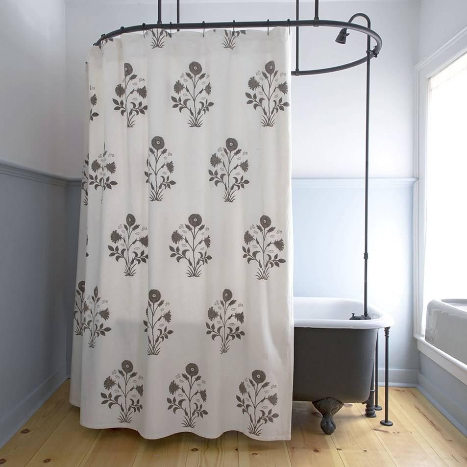 Les Indiennes Veronique Shower Curtain in Grey