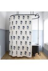 Les Indiennes Indian Flower Shower Curtain in Indigo