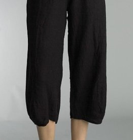 Tempo Paris Basic Linen Crop Pant in Black