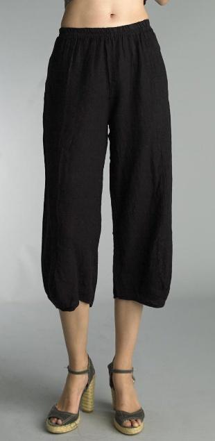 Tempo Paris Basic Linen Crop Pant in Black