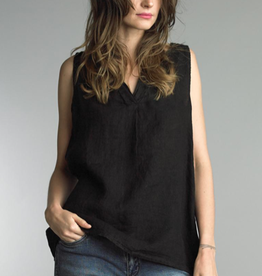 Tempo Paris Black Linen V-Neck SLVLS