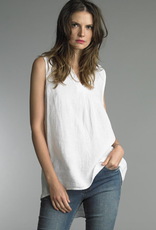 Tempo Paris White Linen V-Neck SLVLS
