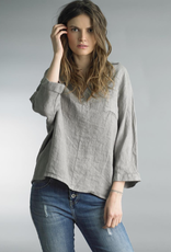 Tempo Paris Taup Linen V-Neck Collared