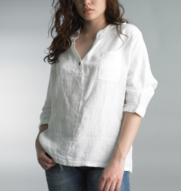 Tempo Paris White Linen V-Neck Collared