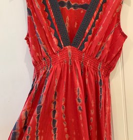 Kerry Cassill Sleeveless Maxi Dress Red Tye Dye