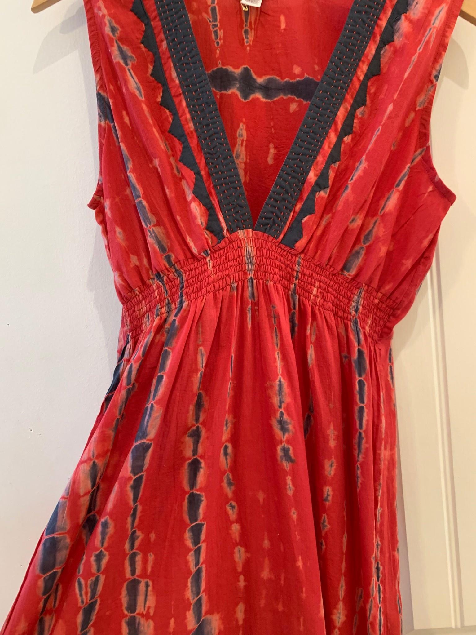 Kerry Cassill Sleeveless Maxi Dress Red Tye Dye