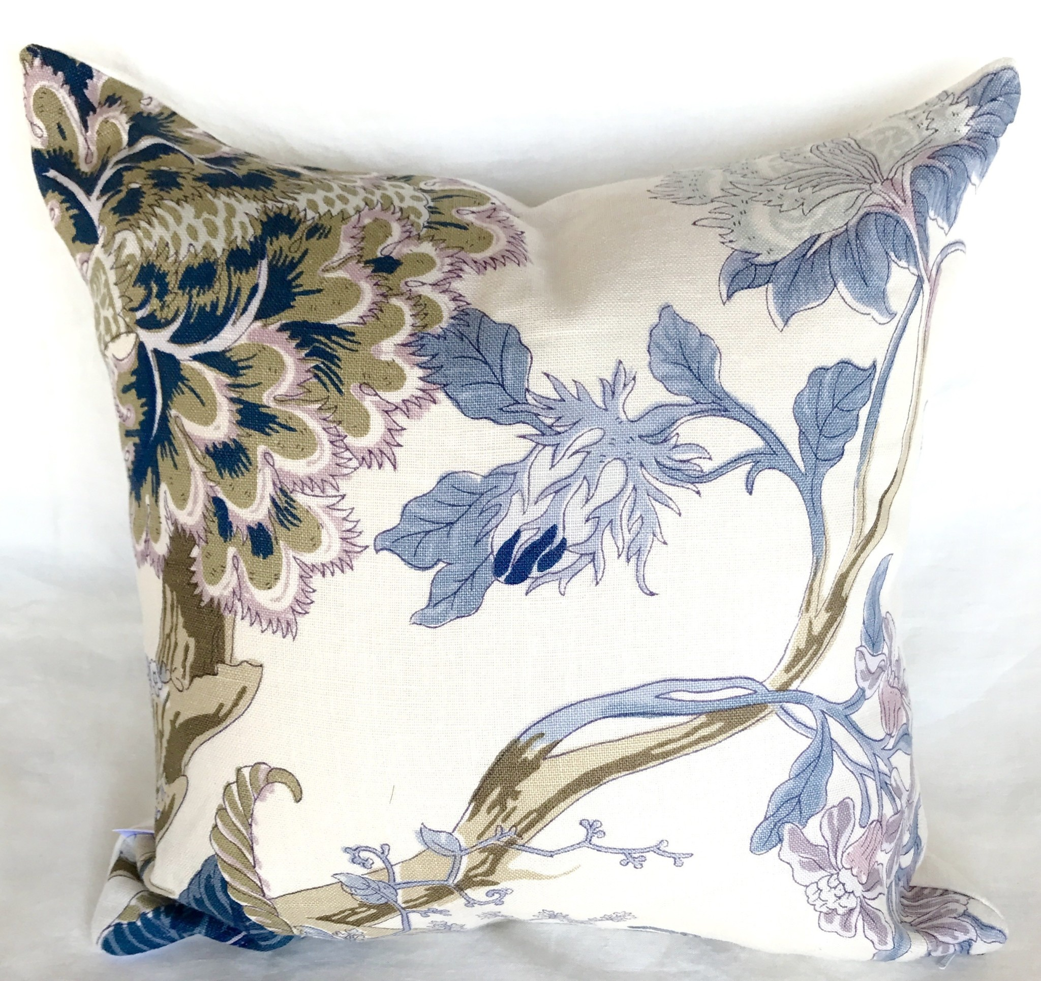 "Ashley Meier Fine Linens Schumacher Indian Arbre 18"" x 18"" pillow"
