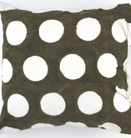 "Les Indiennes Les Indiennes ""Dot"" Reverse Deco Pillow French Gray 22x22"