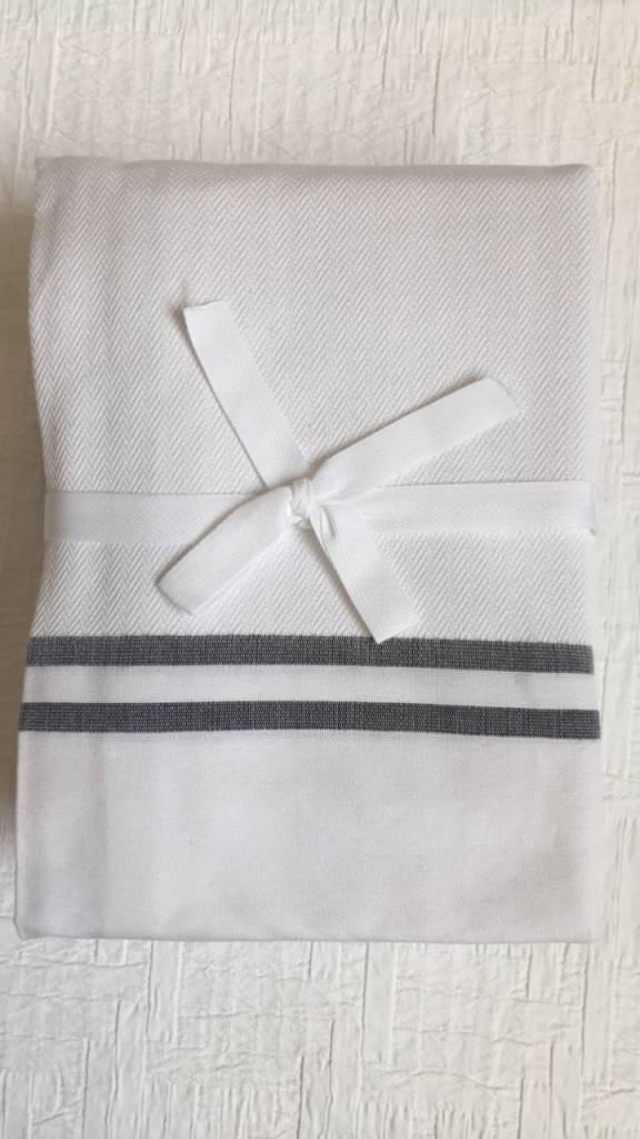Scents and Feel Shower Curtain Herringbone, white/black stripes