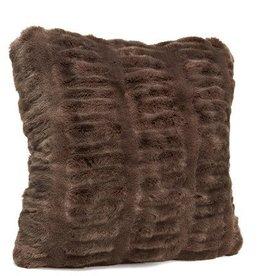 "Donna Saylers Fabulous Furs Faux Fur Pillow 24"" x 24"" chocolate"