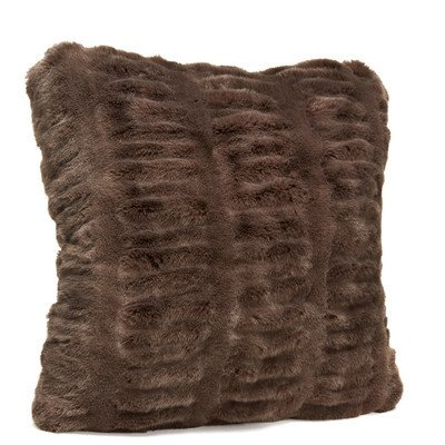 "Donna Saylers Fabulous Furs Faux Fur Pillow 24"" x 24"" chocolate"