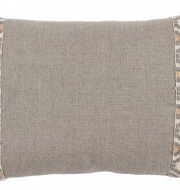 """Natural Linen with Grey Camden Tape, 13"""" x 19"""" lumbar pillow"""