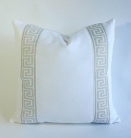 "NQ White Cotton with Silver Greek Key Tape - 22"" x 22"" with insert"