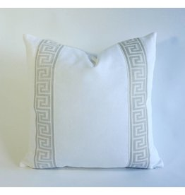 """NQ White Cotton with Silver Greek Key Tape - 22"""" x 22"""" with insert"""