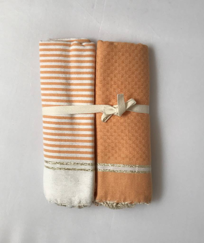 Scents and Feel Set of 2 guest towels solid/tripes with lurex/salmon/white