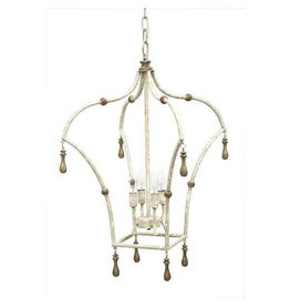 "Old World Design Whitney Lantern with French White & Gold Accents, 17""w x 17""d x 29""h"