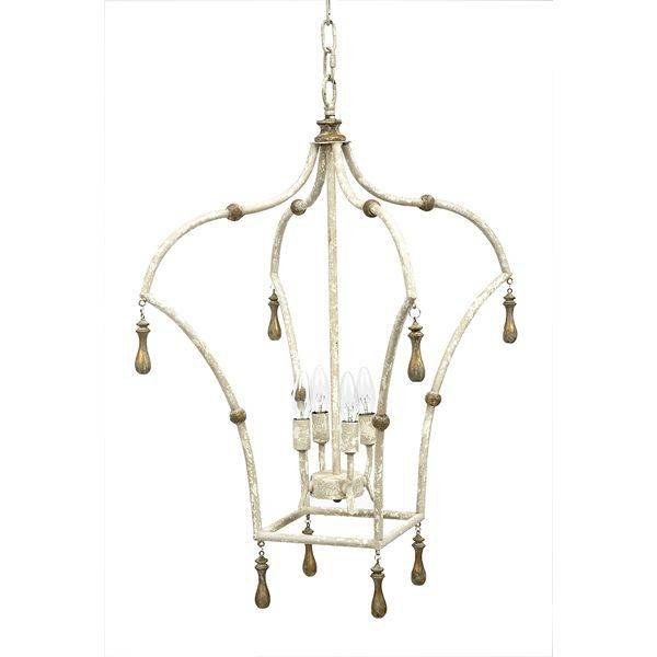 """Old World Design Whitney Lantern with French White & Gold Accents, 17""""w x 17""""d x 29""""h"""