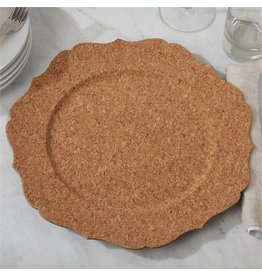 Two's Company Cork veneer scalloped charger