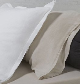 "Vintage linen Dec pillow - off-white, 24"" x 24"""