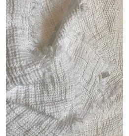 Ashley Meier Fine Linens Washed Linen Throw 61x78 with Fringe - White