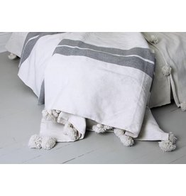 "Kesh bed cover, wide stripe in white/grey with Pom poms 79"" x 95"""