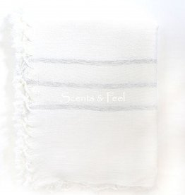 Scents and Feel Throw tablecloth lurex stripes fringes all around
