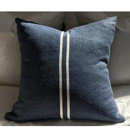Sugar Feather 2 stripe dark 22x22, Denim Blue