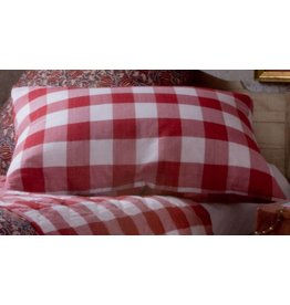 Les Indiennes Red Check Standard Pillow, 20x26