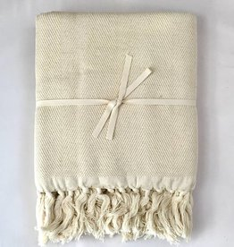 Scents and Feel Large throw chevron lurex off white