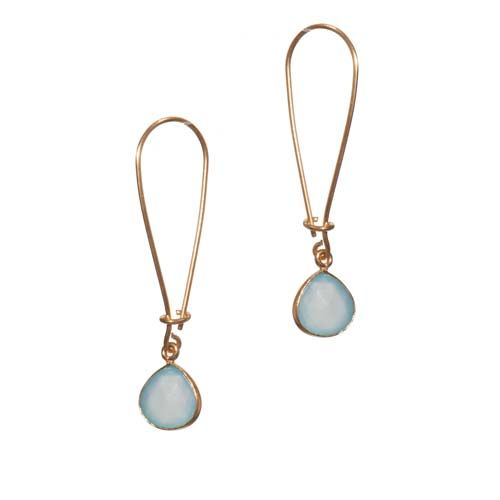 Roost Long Loop Teardrop Facet Aqua Chalcedony Earrings