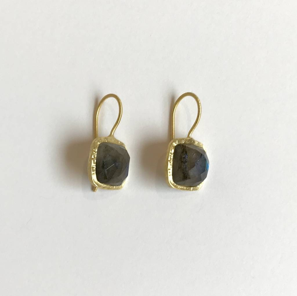 Roost Tiny Square Facet Earrings Labradorite