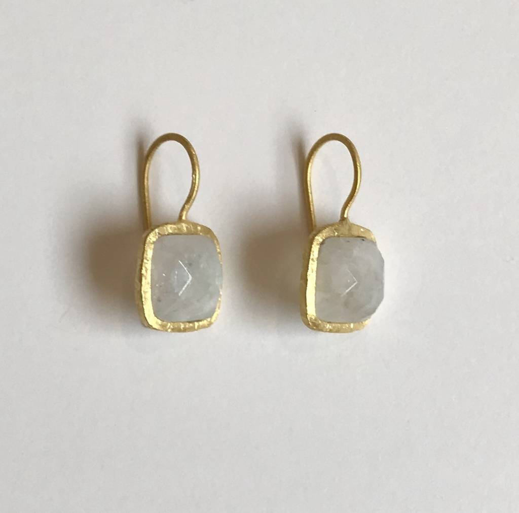 Roost Tiny Square Facet Moonstone Earrings