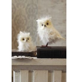 """Vintage Floral Imports 8"""" Feathered Snowy Owl"""