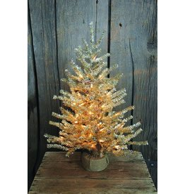 """Vintage Floral Imports 24"""" Silver Pine Tree, Burlap Clear"""
