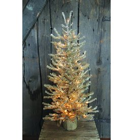"""Vintage Floral Imports 36"""" Silver Pine Tree, Burlap Clear"""