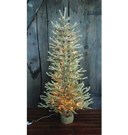 """Vintage Floral Imports 48"""" Silver Pine Tree, Burlap Clear"""