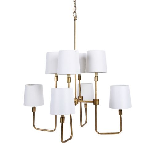 Old World Design Brushed Gold Weston Chandelier With White Linen Shades