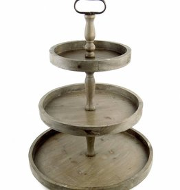 Vagabond Vintage Rustic Recycled Pine 3-Tier Round Display