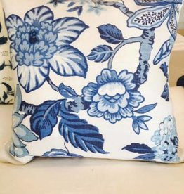 "Ashley Meier Fine Linens Schumacher - Huntington Gardens - Marine Bleu 18"" x 18"""