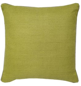 """India's Heritage Chartruese Green Linen Basket Weave Pillow 22"""""""