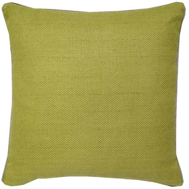 India's Heritage Chartruese Green Linen Basket Weave Pillow 22""