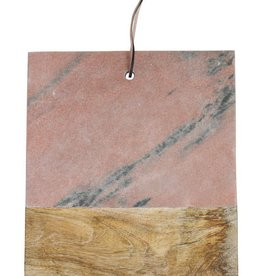 Square Marble & Mango Wood Cutting Board, Pink Marble