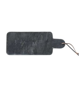 Marble Cutting Board w/ Handle & Leather Tie, Black