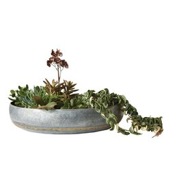 Round Decorative Galvanized Metal Bowl