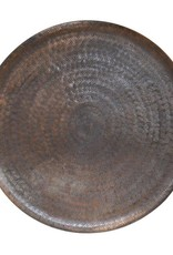Round Embossed Metal Tray, Antique Copper Finish