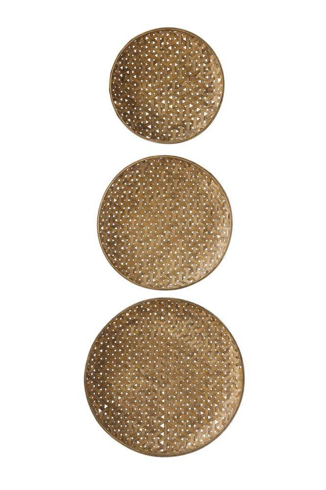 Round Woven Bamboo Baskets, Set of 3