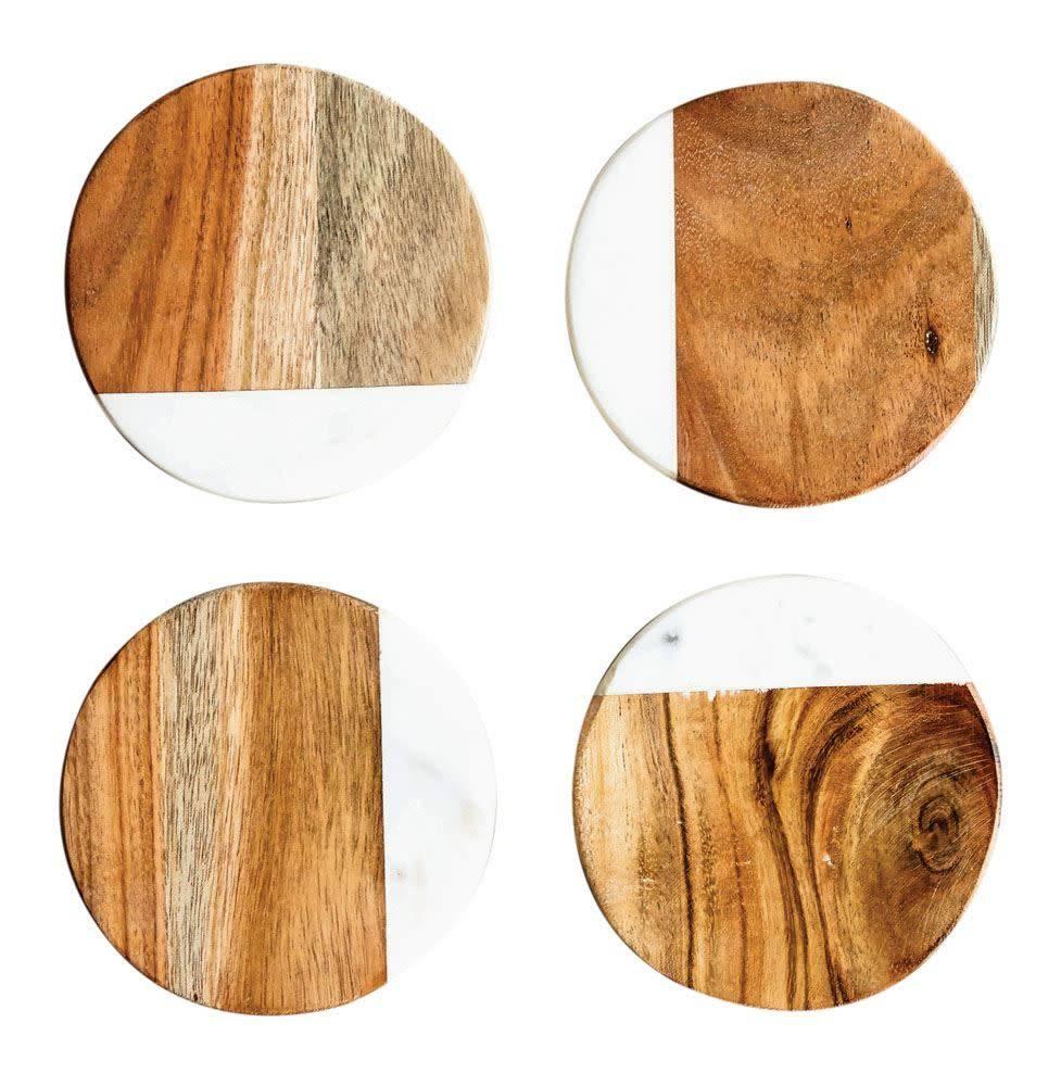 Round Marble & Mango Wood Coasters, Set of 4